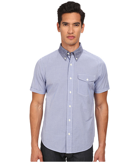 Jack Spade - Sidney Seersucker Short Sleeve Gingham Shirt (Blue) Men's Short Sleeve Button Up