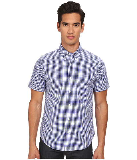 Jack Spade - Maddox Gingham Shirt (Navy) Men's Short Sleeve Button Up