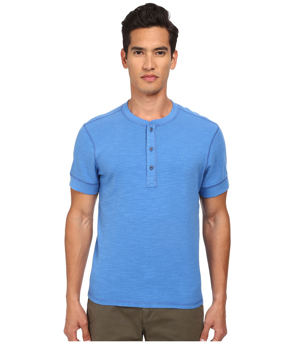 Jack Spade - Colvin Short Sleeve Henley (Strong Blue) Men's Short Sleeve Pullover