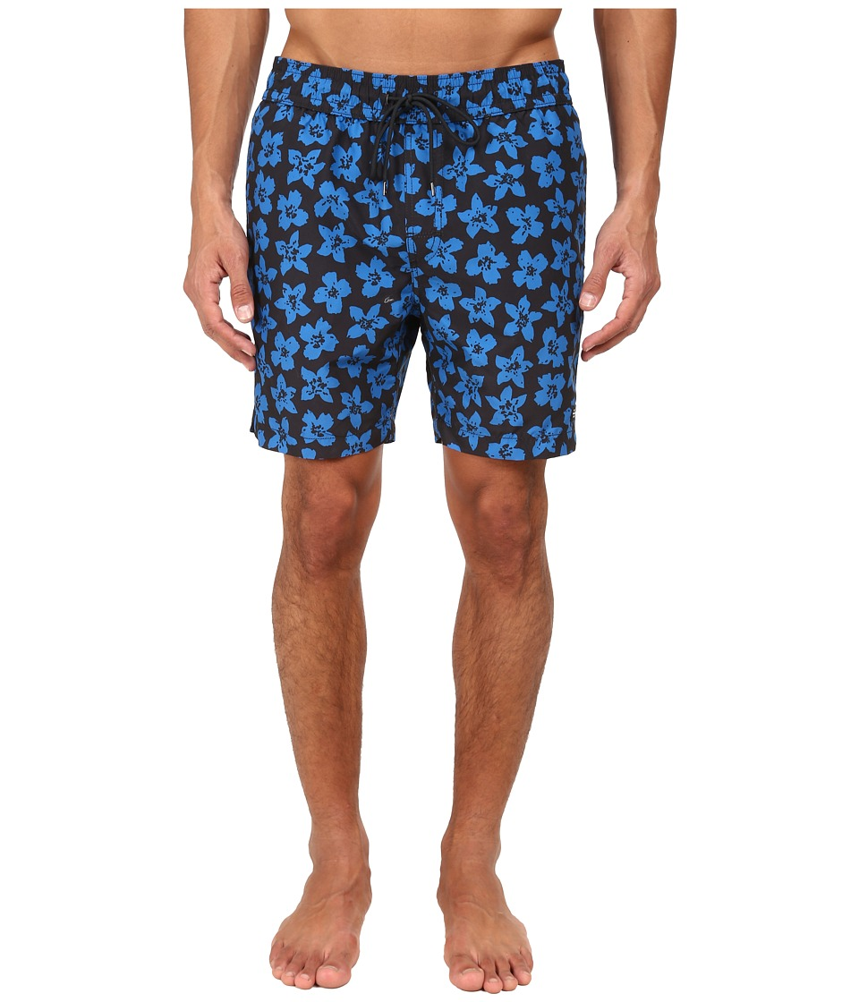 Jack Spade - Floral Grannis Swim Trunks (Black) Men's Swimwear