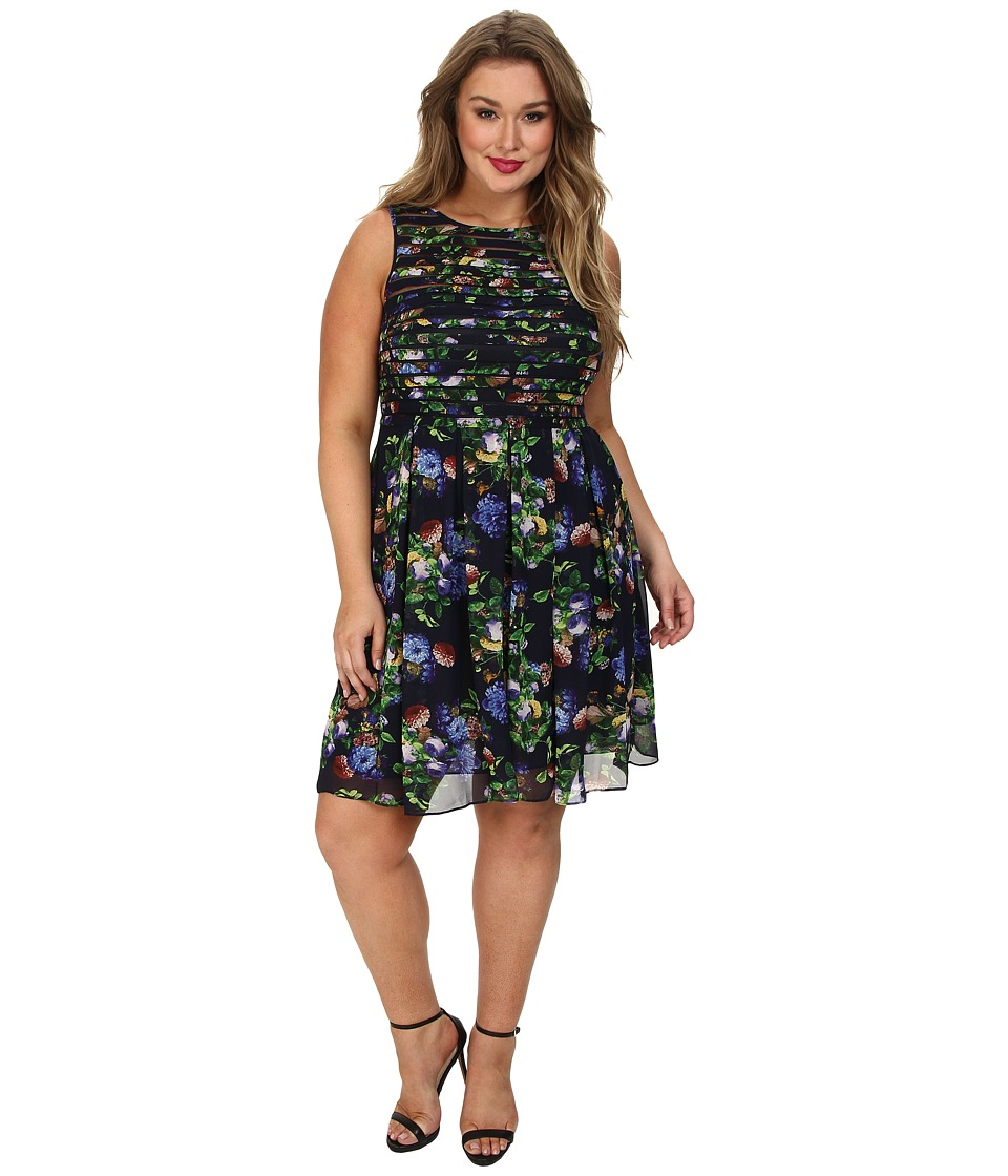Adrianna Papell - Plus Size Printed Strapping Fit Flare (Navy Multi) Women's Dress