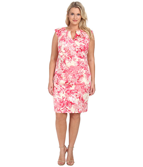 Adrianna Papell - Plus Size Side Wrap Pleated Floral Pleat Dress (Pink Multi) Women's Dress