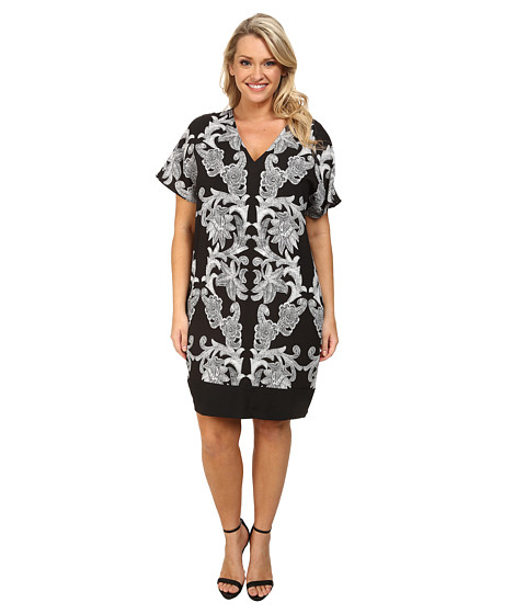 Adrianna Papell - Plus Size Contrast Piping Fit T-Shirt Dress (Black/Ivory) Women
