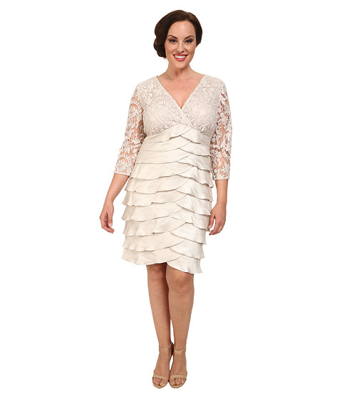 Adrianna Papell - Plus Size Shimmer Shutter Tuck Lace Surplus Dress (Powder) Women