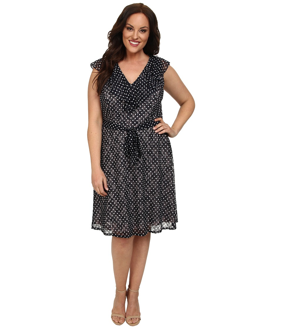Adrianna Papell - Plus Size Ruffle Front V-Neck Fit Flare (Navy) Women's Dress
