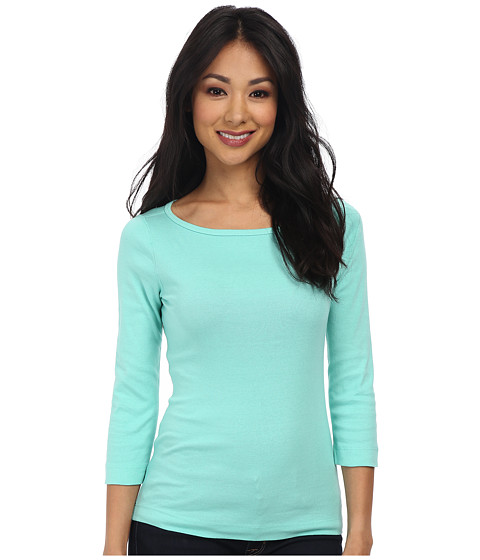 Three Dots - 3/4 Sleeve British Tee (Menthe) Women's Long Sleeve Pullover