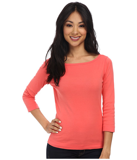 Three Dots - 3/4 Sleeve British Tee (Dubarry Rose) Women's Long Sleeve Pullover