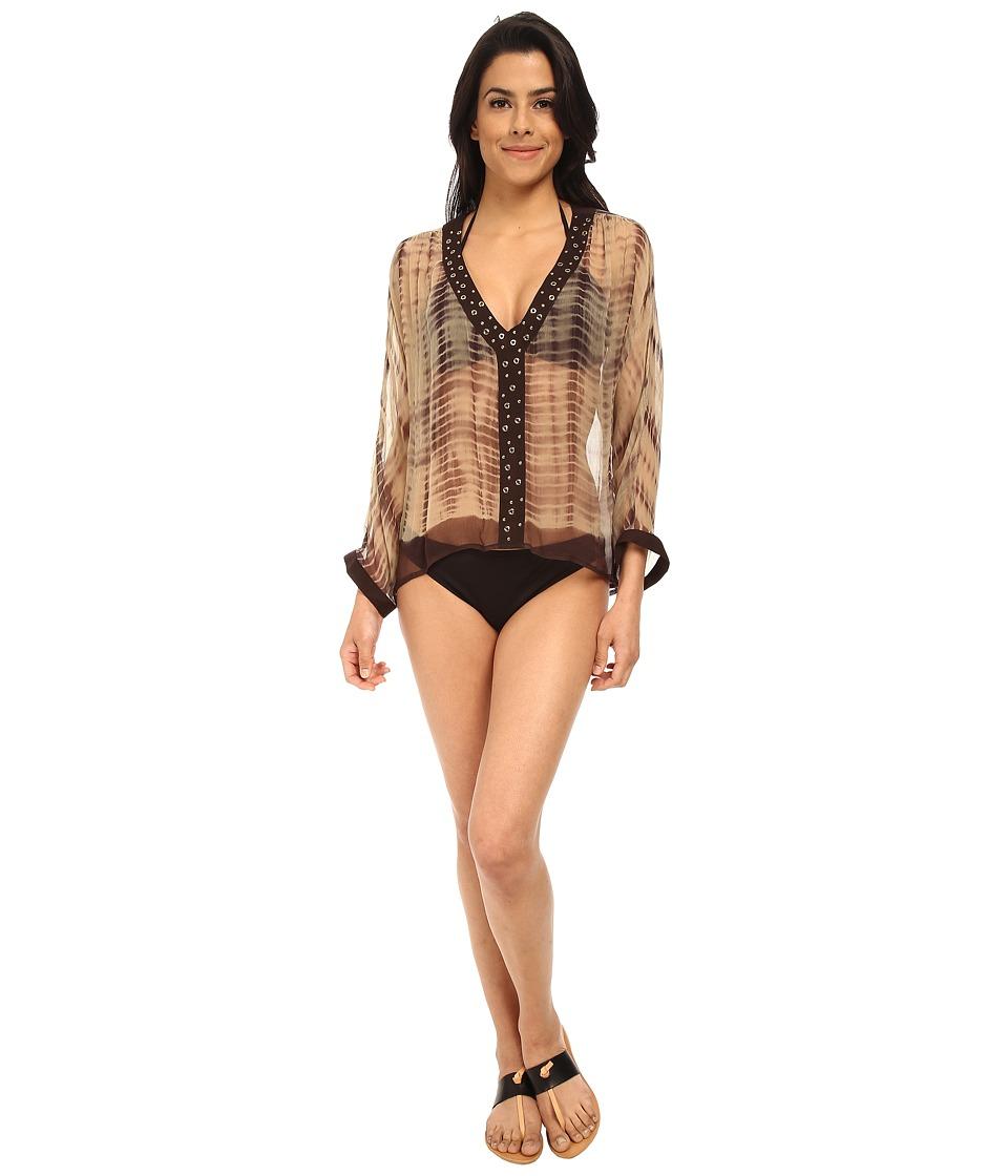 MICHAEL Michael Kors - Tie Dye V-Neck Short Studded Caftan Cover-Up (Chocolate) Women's Swimwear