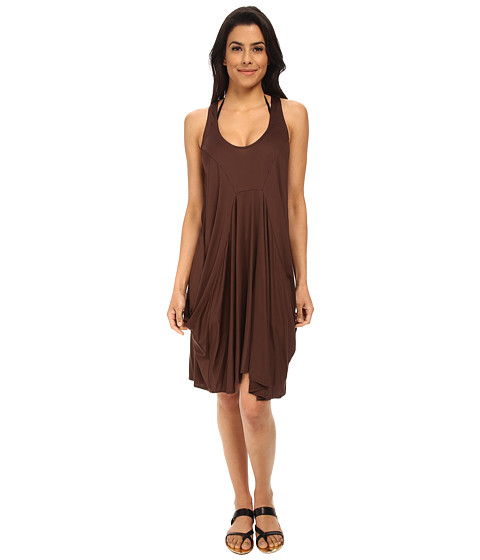MICHAEL Michael Kors - Solid Draped Cover-Up (Chocolate) Women's Swimwear