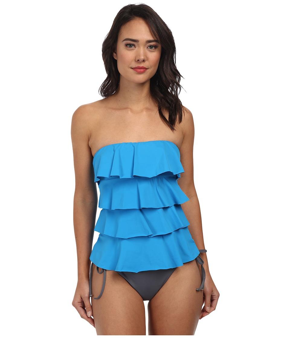 MICHAEL Michael Kors - Cascading Front Ruffle Tankini (Azura) Women's Swimwear