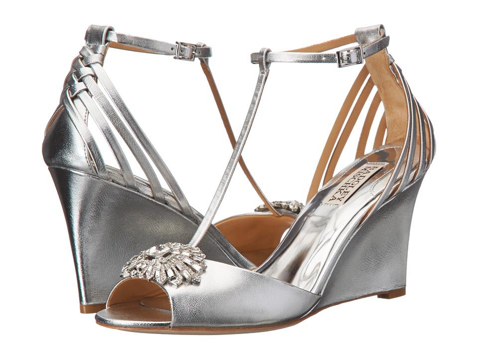 Badgley Mischka - Milly II (Silver Metallic Suede) Women's Wedge Shoes