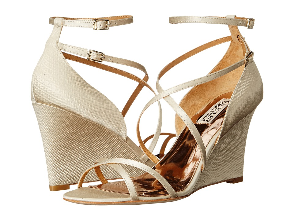 Badgley Mischka - Melaney (Ivory Satin) Women's Wedge Shoes