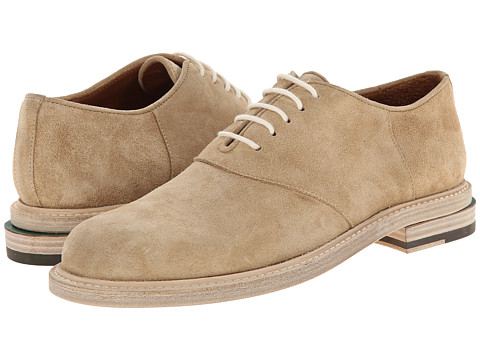 Band of Outsiders - Calf Suede Slipped Heel Saddle Shoe (Khaki) Men's Lace up casual Shoes