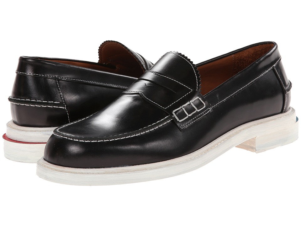 Image of Band of Outsiders - Brushed Cordovan Slipped Heel Penny Loafer (Black) Men's Slip on Shoes