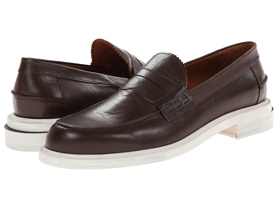Band of Outsiders - Stamped Calf Slipped Heel Penny Loafer (Brown) Men's Slip on Shoes