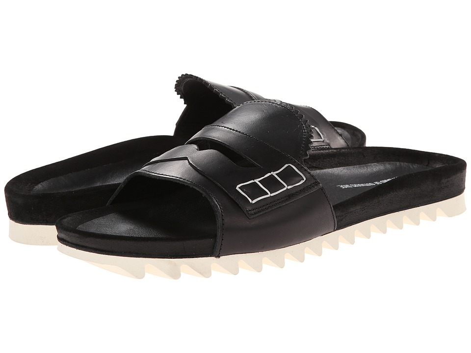 Band of Outsiders - Calf Slip-On Shower Slide (Black) Men's Slide Shoes