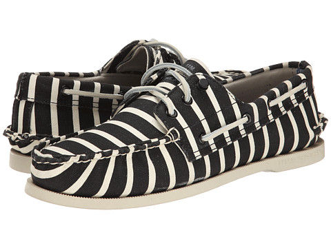 Band of Outsiders - A/O 3-Eye Stripe Boat Shoe (Black/White) Men's Slip on Shoes