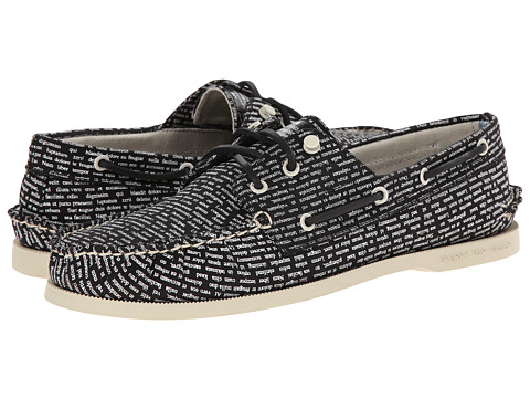 Band of Outsiders - A/O 3-Eye Literary Boat Shoe (Black/White) Men