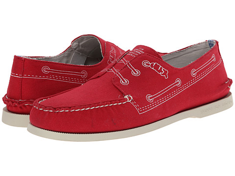 Band of Outsiders - A/O 2-Eye Doodle Boat Shoe (Tomato) Men's Slip on Shoes