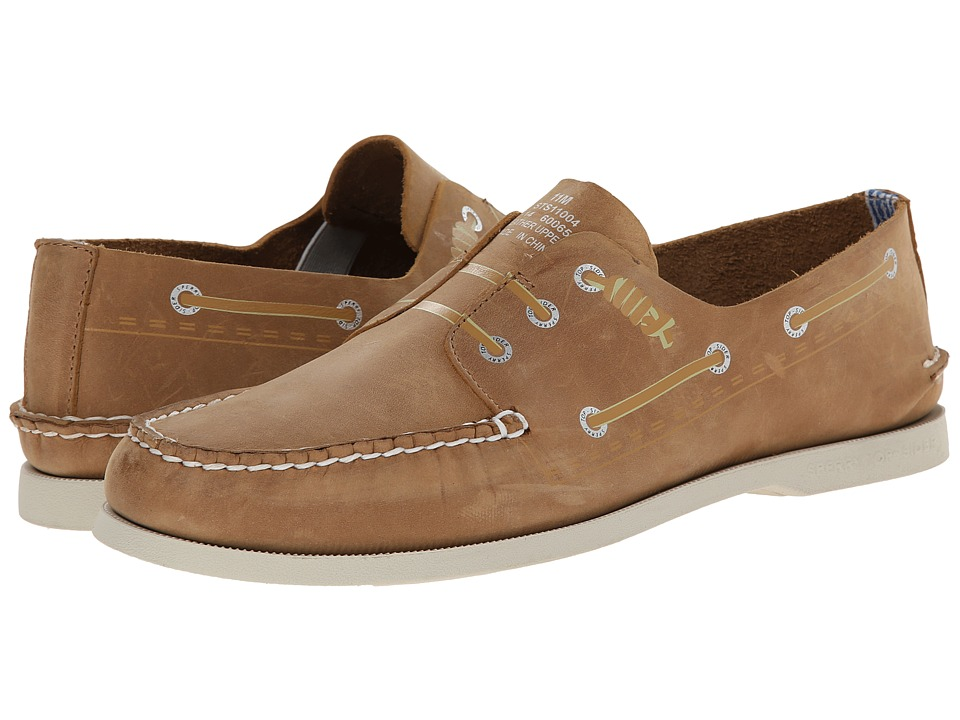 Image of Band of Outsiders - A/O 3-Eye Screen Print Boat Shoe (Sahara) Men's Slip on Shoes