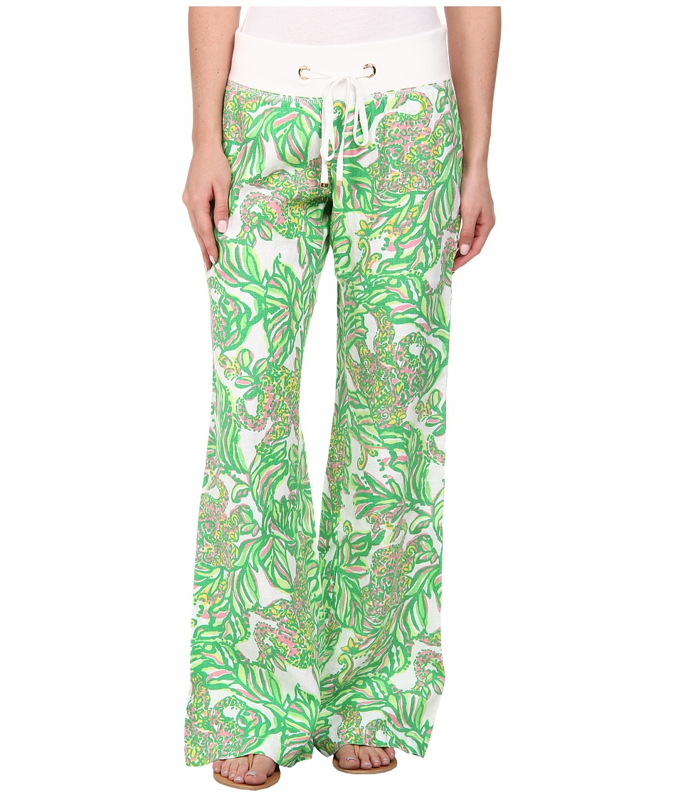 Lilly Pulitzer - Beach Pant (Resort White Seeing Pink Elephants) Women's Casual Pants