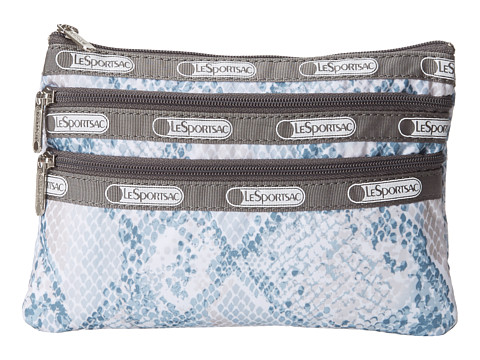 LeSportsac - 3 Zip Cosmetic Case (Aqua Snake) Cosmetic Case