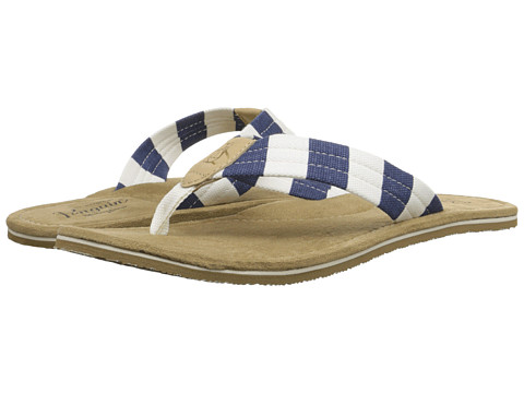 Original Penguin - Stripe Thong (Off White/Dress Blues) Men's Sandals