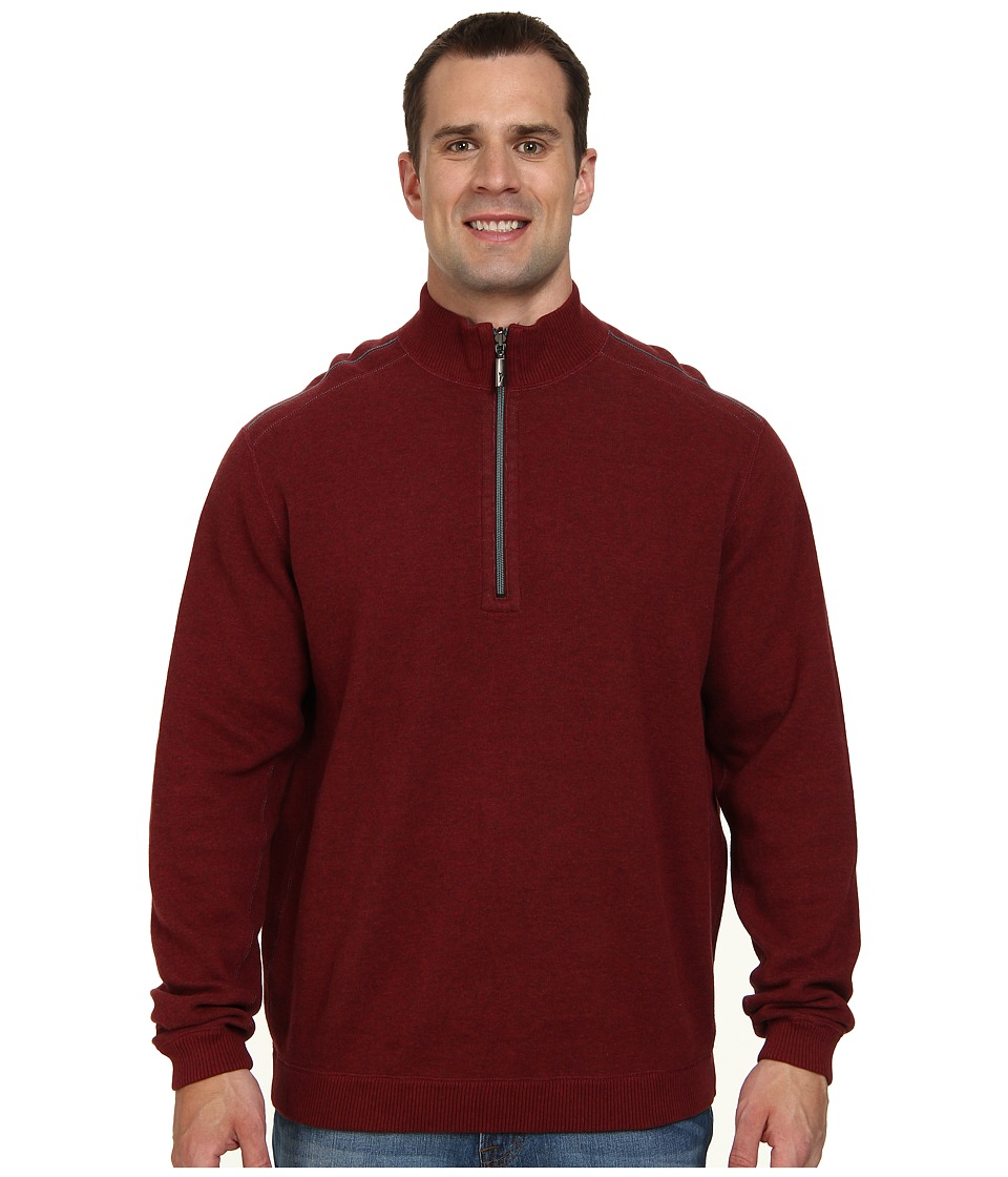 Tommy Bahama Big & Tall - Big Tall New Flip Side Pro Reversible Half Zip Sweatshirt (Black Cherry Heather) Men's Long Sleeve Pullover