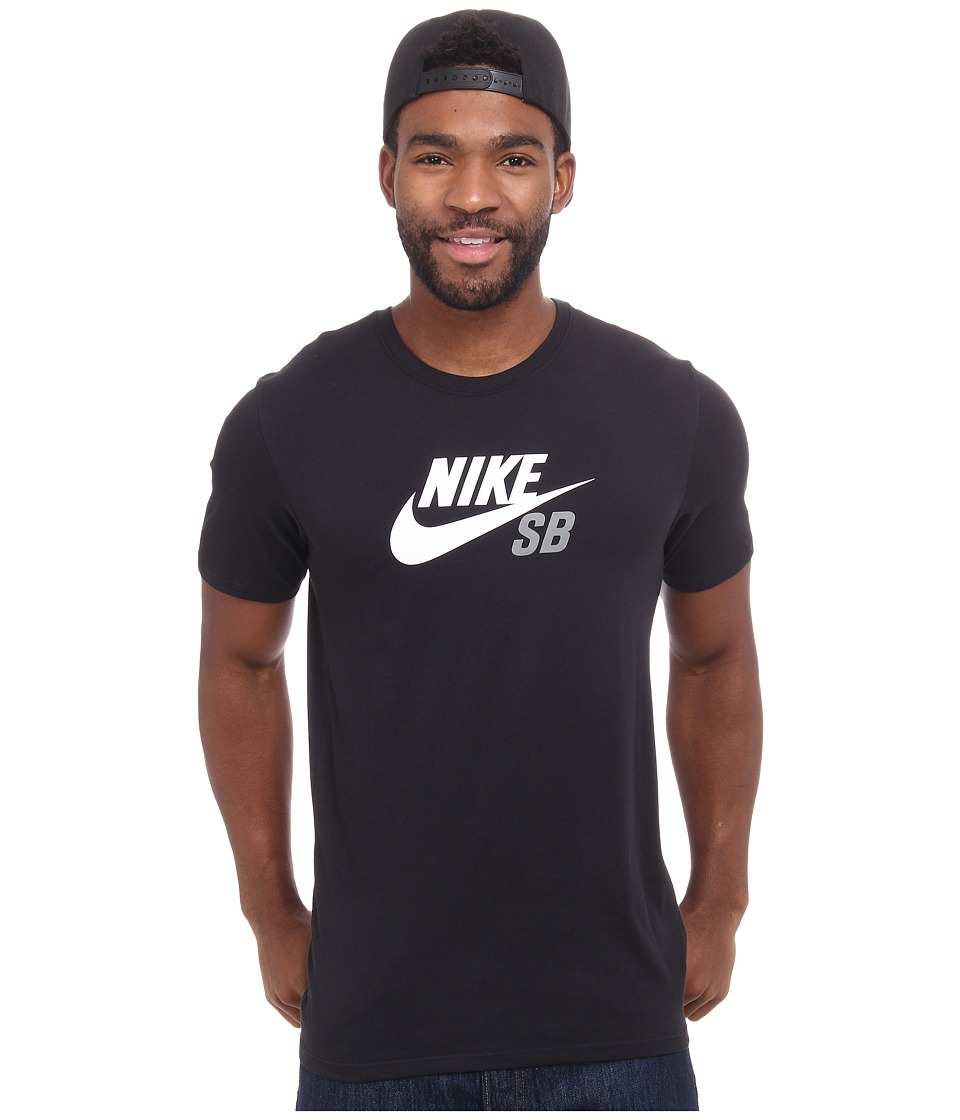 Nike SB - SB Dri-FIT Icon Logo Tee (Black/White/Tumbled Grey) Men's Short Sleeve Pullover