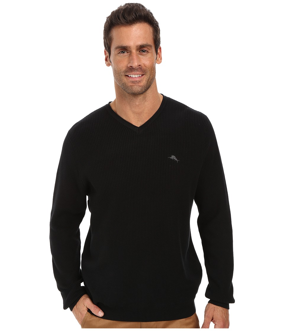 Tommy Bahama Ocean Avenue V-Neck Sweater (Black) Men