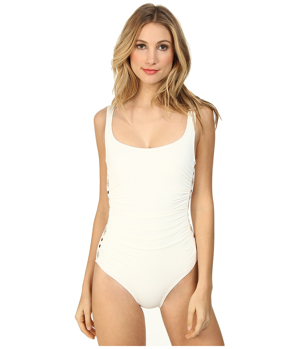 MICHAEL Michael Kors - Boho Solids U-Neck Shirred Maillot (Cream) Women's Swimsuits One Piece