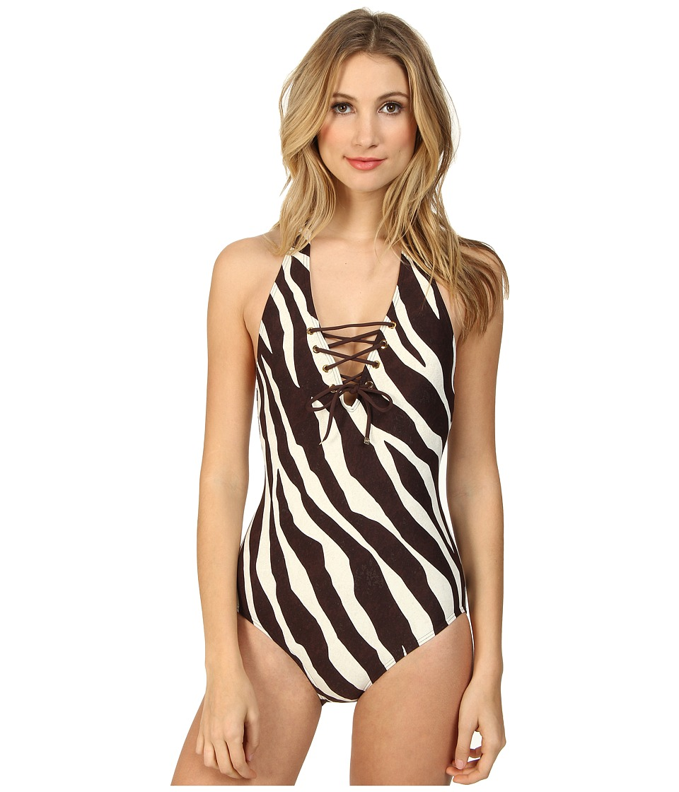 MICHAEL Michael Kors - Ghanzi Zebra Lace Deep Plunge Maillot (Chocolate) Women's Swimsuits One Piece