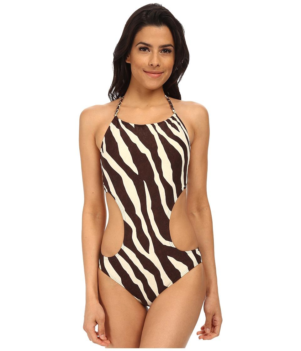 MICHAEL Michael Kors - Ghanzi Zebra Chain Halter Cutout Maillot (Chocolate) Women's Swimsuits One Piece