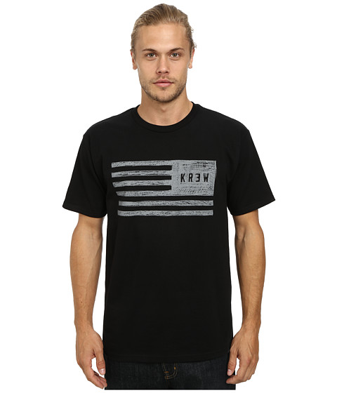 KR3W - Sketch Flag Tee (Black) Men's Short Sleeve Pullover