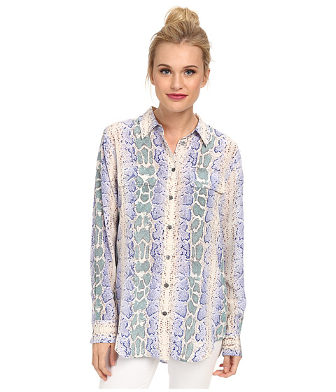 EQUIPMENT - Slim Signature Snake Print (Amparo Blue Multi) Women's Long Sleeve Button Up