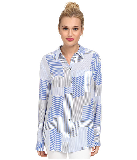 EQUIPMENT - Reese Button Up Shirt (Bright White Multi) Women's Long Sleeve Button Up