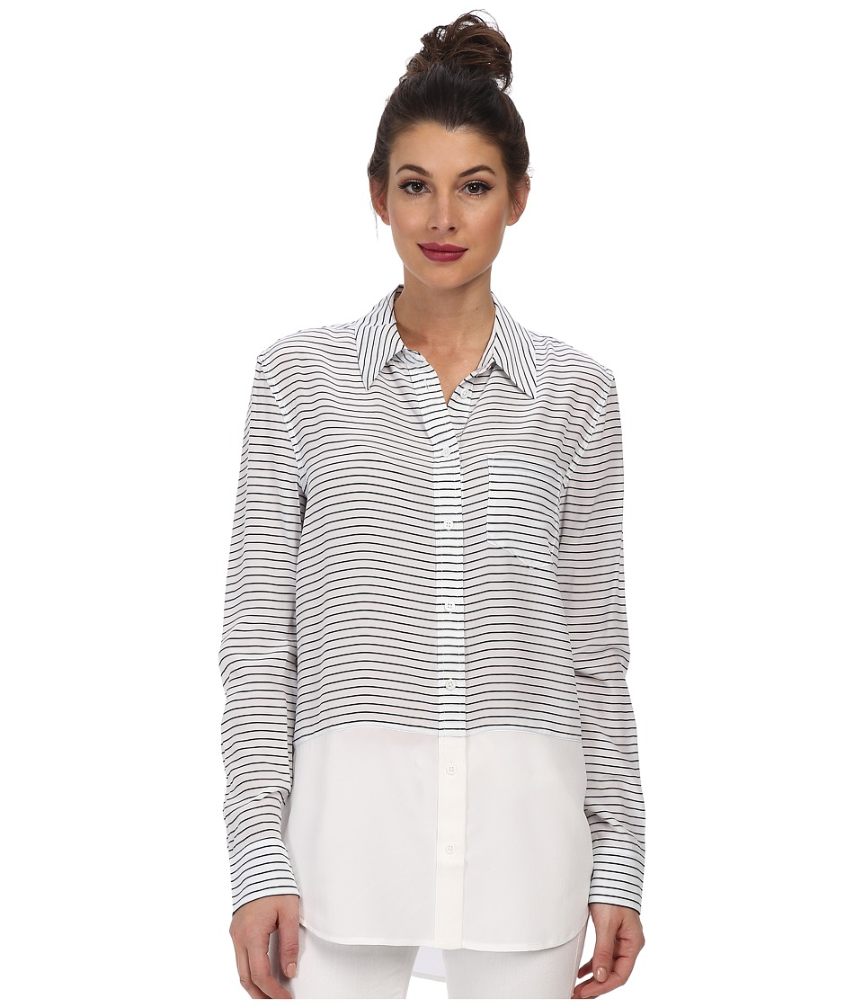 EQUIPMENT - Reese Stripe Button Up (Bright White Peacoat) Women's Long Sleeve Button Up