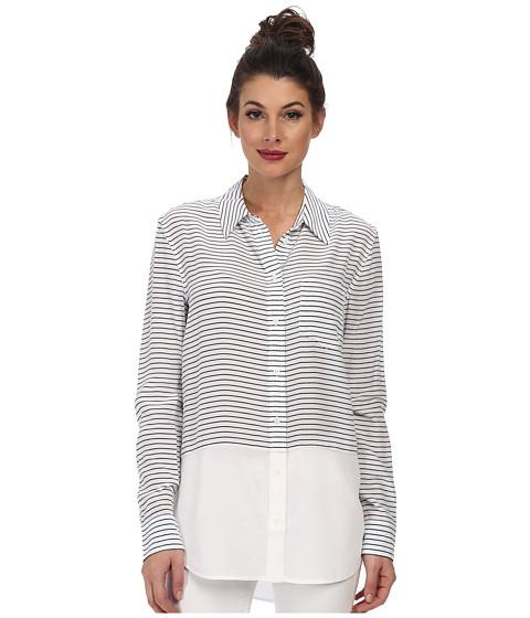 EQUIPMENT - Reese Stripe Button Up (Bright White Peacoat) Women