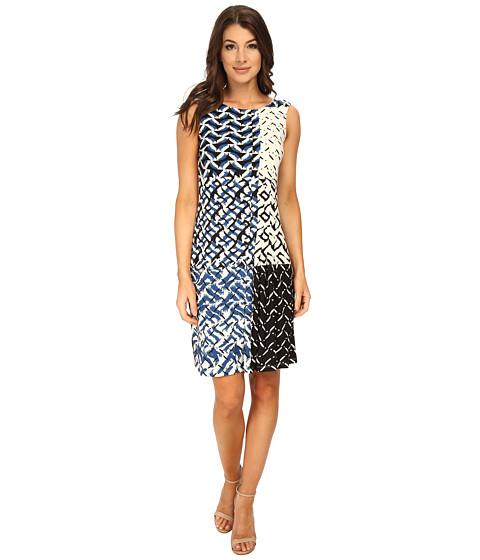 Donna Morgan - Sleeveless Shift Matte Jersey Dress (Ocean/Black Multi) Women