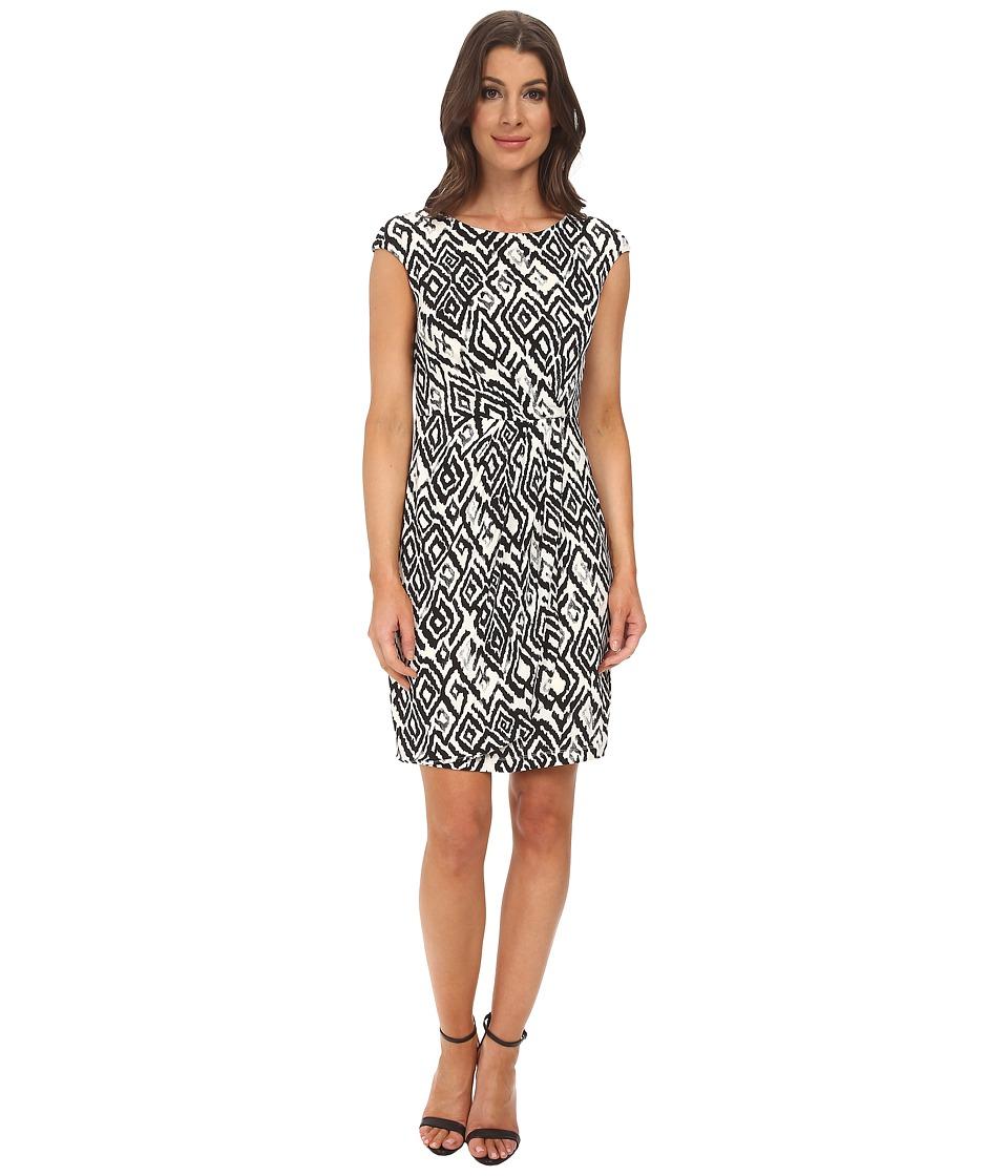 Donna Morgan - Jersey Faux Wrap Sheath Dress (Black/Ivory) Women