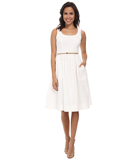 Donna Morgan - Sleeveless Scoop Neck Eyelet Dior Length (White) Women