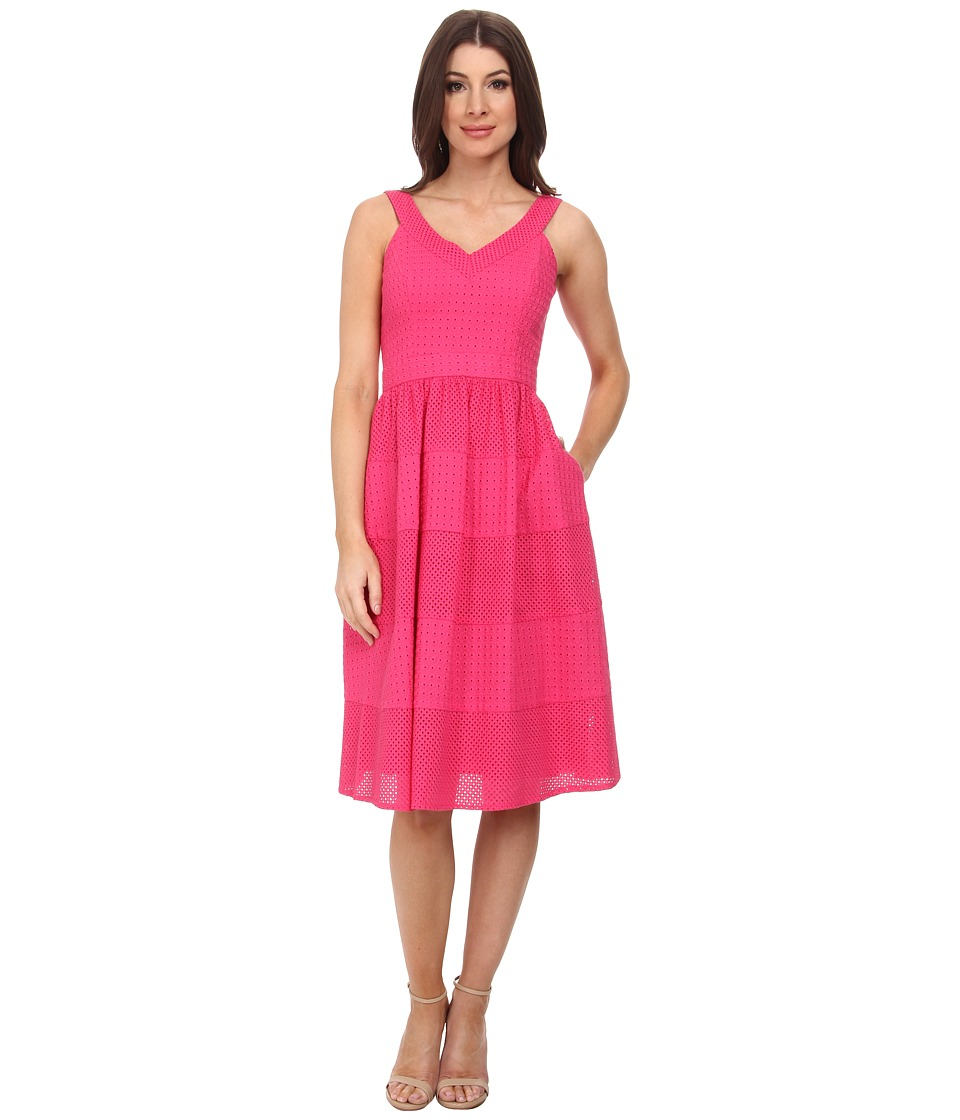 Donna Morgan - V- Neck Eyelet Dress w/ Set in Waistband and Full Skirt (Punch) Women