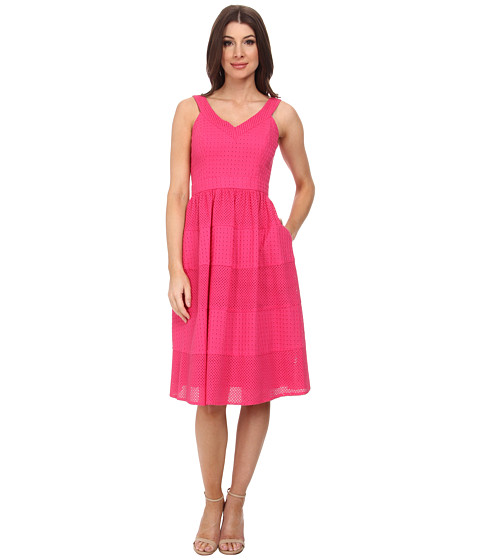 Donna Morgan - V- Neck Eyelet Dress w/ Set in Waistband and Full Skirt (Punch) Women's Dress