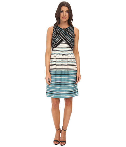 Donna Morgan - Peek A Boo Fit and Flare Scuba Dress (Lagoon Multi) Women's Dress
