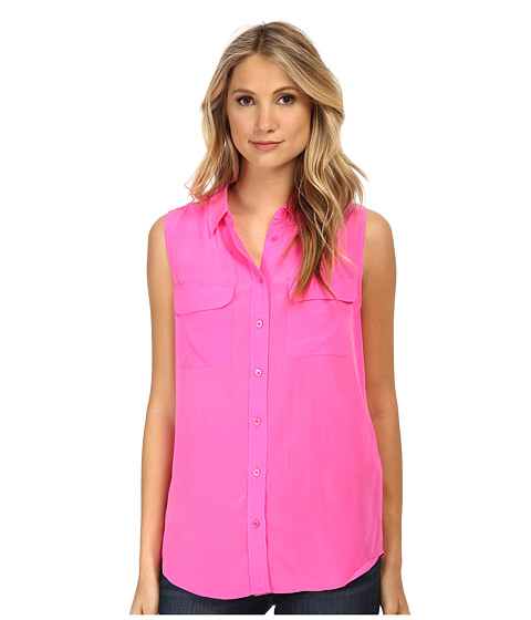 EQUIPMENT - Sleeveless Slim Signature Top (Magenta) Women's Sleeveless