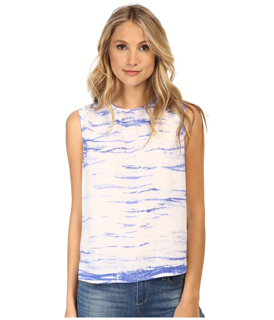 EQUIPMENT - Reagan Sleeveless Tie-Dye Top (Amparo Blue) Women's Blouse
