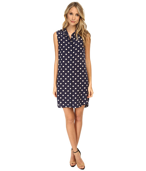 EQUIPMENT - Michaela Polka Dot Dress (Peacoat) Women's Dress