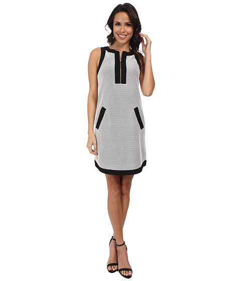 Donna Morgan - Mesh Zip Front Shirt Hem Sleeveless Shift Dress (Black/White) Women's Dress