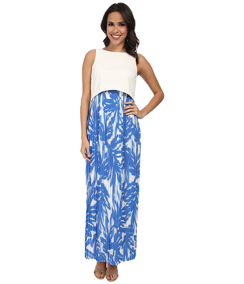 Donna Morgan - Scuba Knit Maxi with Crop Top and Pleated Chiffon Skirt (Blue Ivory) Women's Dress