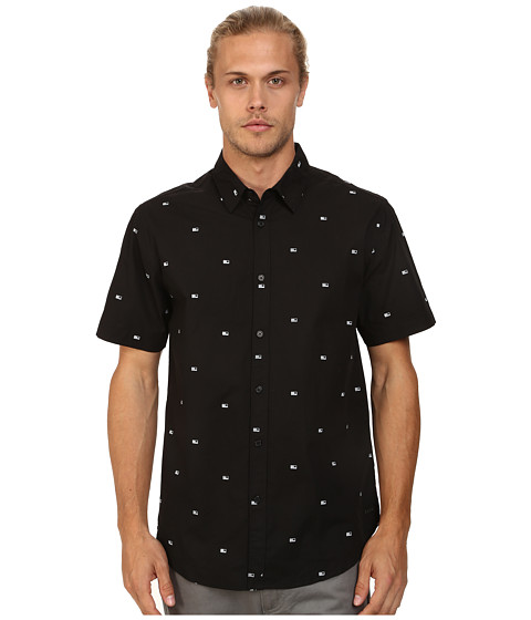 KR3W - Winston Short Sleeve Tee (Black Flag) Men's Short Sleeve Button Up